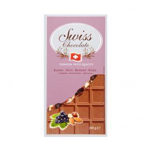 Swiss Milk Chocolate Nut/Raisin tablets 200 gr