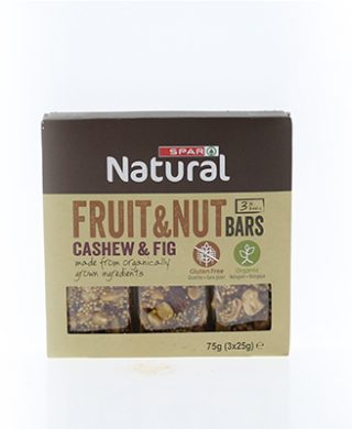 SPAR Natural Organic Nut Bars Cashew Figs 3x25g
