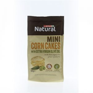 SPAR Natural Organic Mini Corn Cakes with Extra Virgin Olive Oil 50g