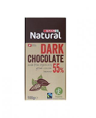 SPAR Natural Organic Chocolate Bar Dark 55% 100g