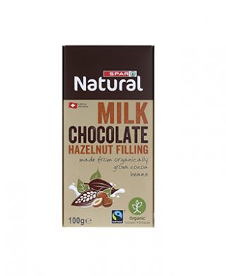 SPAR Natural Organic Chocolate Bar Milk Hazelnut 100g